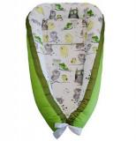 Cuib bebe Bufnite - Verde, Bumbac 100%, 0-6 luni, Alte dimensiuni