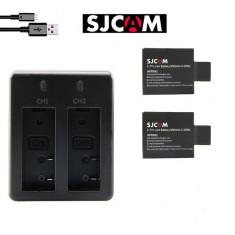 SJCAM Incarcator dublu+2 acumulatori originali sigilati pt.cam.SJ4000,SJ5000,etc