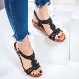 Sandale dama cu platforma negre Tangesa