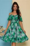Rochie LaDonna by Catalin Botezatu scurta si vaporoasa cu imprimeu verde