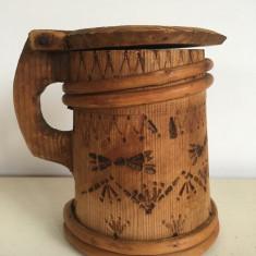 HALBA VECHE , Banita, din lemn cu capac pt unt vin smantanta RUSTIC 12cm
