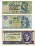 SV * Ungaria LOT BANCNOTE 200 - 500 - 1000  FORINT  2005 / 2000 / 1990   F / -VF