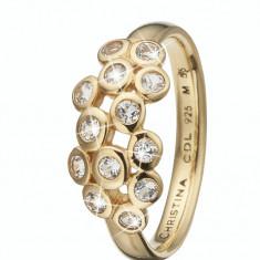 Inel Champagne Love, Argint 925 placat cu aur galben 18K, Masura 53