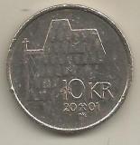 NORVEGIA  10  COROANE  / KRONER  2001  [1]  VF  ,  livrare in cartonas