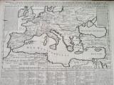 Harta a Europei si Marii Mediterane, format mare, tiparita in 1720