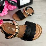 Cumpara ieftin Sandale negre elegante cu aplicatii aurii pt fetite 28 29 32, Fete