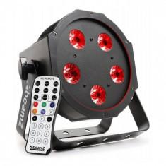 Beamz BFP120 FLATPAR, 5 x 8 W LED-uri RGB, Lampă Led 4-în-1, DMX, telecomandă IR foto