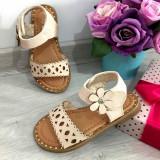 Cumpara ieftin Sandale crem bej elegante decupate cu scai pt fetite 24 25 26 27 29