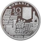Romania 10 Lei 2011 (Anul internațional al chimiei)  Argint 31.1g/999, UNC !!!
