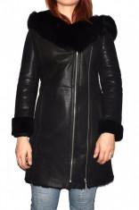 Cojoc dama, din blana naturala, Kurban, 6-01-95, negru foto