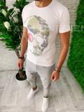 Tricou barbati slim fit -alb- ZR A5783 X15-5