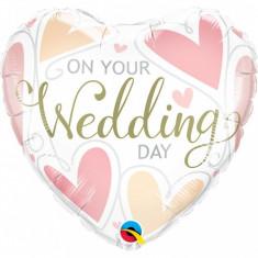 Balon nunta inima din folie 43cm Your Wedding Day