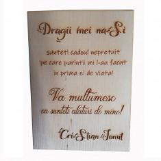 Mesaj personalizat ocazie speciala, lemn, suport auriu, 20×30 cm, Artemis Gift