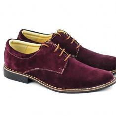 Pantofi barbati casual - eleganti din piele naturala velur bordo - PAVISINIU, 37 - 44