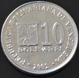 Moneda 10 BOLIVARES - VENEZUELA, anul 2002   *cod 651 A = UNC surplus material