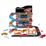 Set 2 masinute de jucarie cu garaj, scara 1:43, multicolor