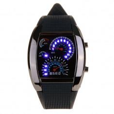 Ceas de mana cu cadrane auto, iluminat LED, unisex, otel inoxidabil, curea silicon