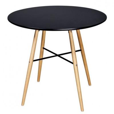 Masă de bucătărie rotundă, MDF, negru foto
