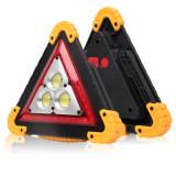 Lanterna de avertizare tip triunghi reflectorizant cu 3 LED-uri COB