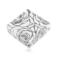 Cutie pentru cercei sau două inele, model cu trandafiri negri pe fundal alb