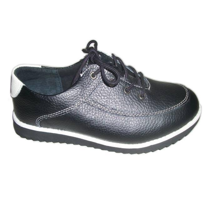 Pantof din piele naturala, nuanta de negru, insertii de alb