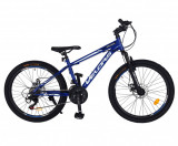 Cumpara ieftin Bicicleta MTB-HT Shimano Tourney 21 viteze, roti 24 Inch, frane Disc Velors CSV24/10A, cadru albastru cu design negru
