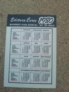CCO - CALENDARE FOARTE VECHI - ANUL 1980 - NR 1