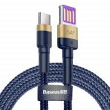 Cablu de date Baseus Cafule HW Quick Charging CATKLF-PV3, USB Type-C, 1 m, 40 W, 5 A (Albastru/Auriu)