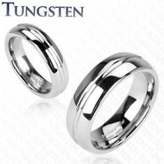 Inel din tungsten - partea centrală gravată - Marime inel: 62