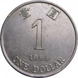 Hong Kong, 1 dolar 1994_floare de orhidee  * cod 143
