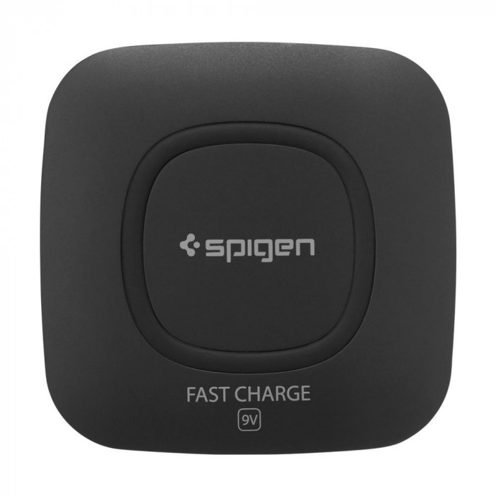 Incarcator Universal Inductie Spigen F301W Wireless Fast Charger 9V Negru