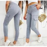 Pantaloni dama lungi din bumbac gri cu elastic si buzunare laterale