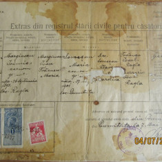 Certificat de casatorie.Extras bisericesc 1927.Timbre fiscale Ferdinand I 1919.