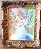 Tablou deosebit vaza cu flori pictura ulei pe panza intinsa pe placaj -rama