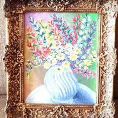 Tablou deosebit vaza cu flori pictura ulei pe panza intinsa pe placaj -rama, Realism