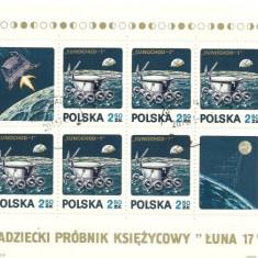 Polonia 1971 - Lunochod 1, coala stampilata