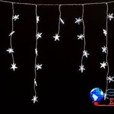 Perdea luminoasa tip turturi cu stele 120 LED-uri albe lumina rece cablu transparent WELLL