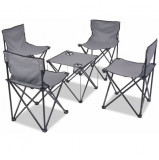 Set mobilier camping pliabil, 5 piese, gri, oțel, 45x45x70 cm