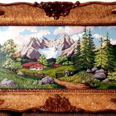 Gobelen - Peisaj de munte-Rama Blondel sticla - tablou manufactura - pas mic