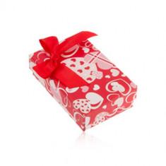 Cutie roșie de cadou pentru cercei și inel sau pandantiv, cu inimioare și fundă