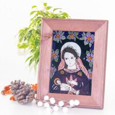 Fecioara cu pruncul(Transilvania de N., sec.XIX)-Icoană pictată pe sticlă
