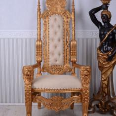 Tron baroc din lemn masiv auriu cu tapiterie crem MAR069