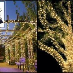 Ghirlanda Luminoasa Solara, cu panou solar, 10 m lungime, Instalatie Copaci