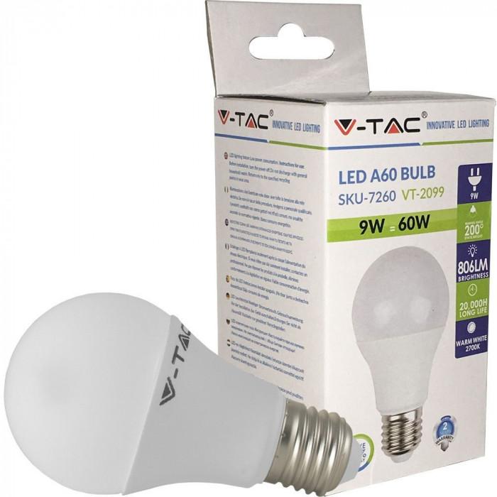 Bec LED A60 E27 9W 2700K alb cald V-tac