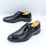 Pantofi barbati Piele eleganti negri lac Pesilo