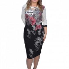 Rochie dama cu imprimeu floral,si decolteu maxi cu model,alb-negru