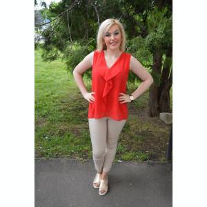 Bluza eleganta, din voal combinat cu dantela, in culoare rosie