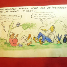 Caricatura- Tus si Acuarela -Betivi in Parc ,dim.=20,5x13,3cm, anii '50