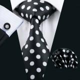 Set cravata + batista + butoni matase naturala model negru 1190