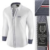 Camasa pentru barbati alb slim fit elastica casual cu guler arezzo II